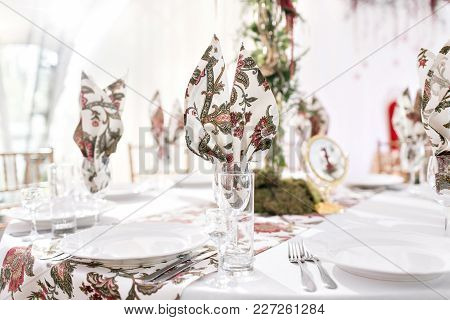 Interior Of A Wedding Tent Decoration Ready For Guests. Served Round Banquet Table Outdoor In Marque