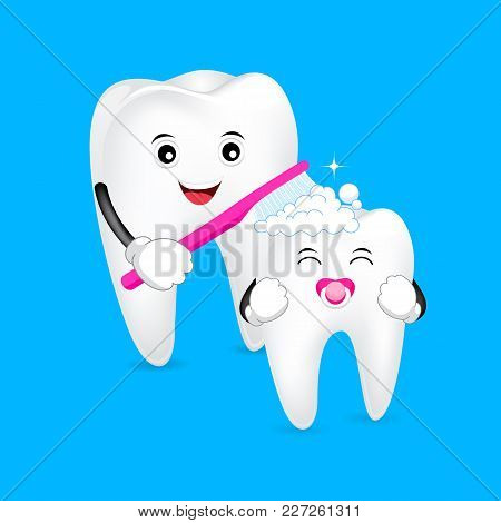 Cute Cartoon Tooth Character. Mom Brushing Tooth Baby. First Tooth, Dental Care Concept. Illustratio