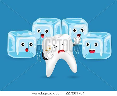 Cartoon Unhealthy Tooth Character With Ice. Sensitive Teeth To Cold.  Dental Care Concept, Illustrat