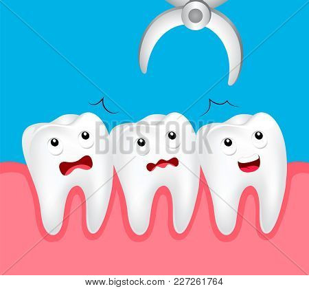 Cute Cartoon Tooth Dental Extraction, Removal Of Tooth. Dental Problem Concept, Illustration.