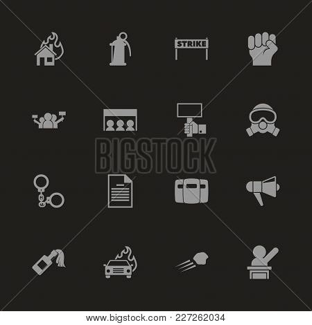 Protest Icons - Gray Symbol On Black Background. Simple Illustration. Flat Vector Icon.