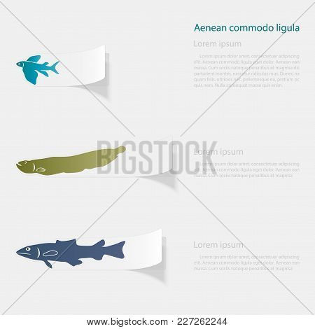 Fish The Seas And Oceans. Flat Sticker With Shadow On White Background. Vector Illustration