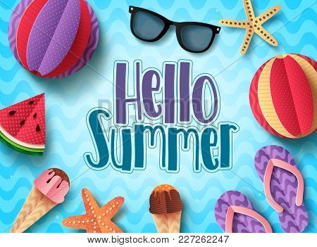 Hello Summer Vector Banner Design With Beach Elements Floating In Blue Pattern Background. Summer Ba