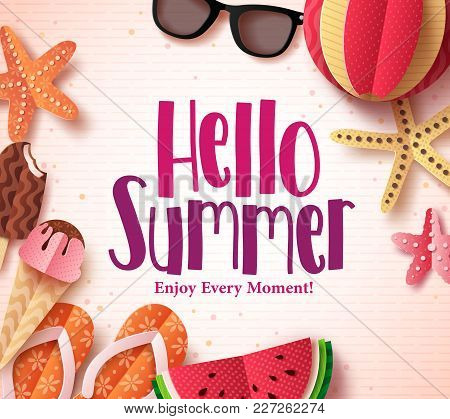 Hello Summer Vector Background Template With Flat Paper Cut Beach Elements In A Pattern White For Su
