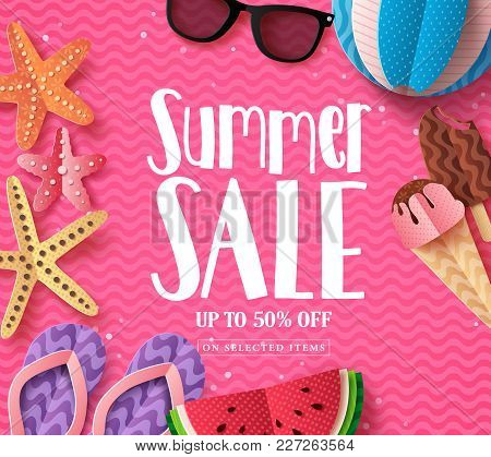 Summer Sale Vector Background Template With Paper Cut Beach Elements And Sale Text In Pink Pattern B