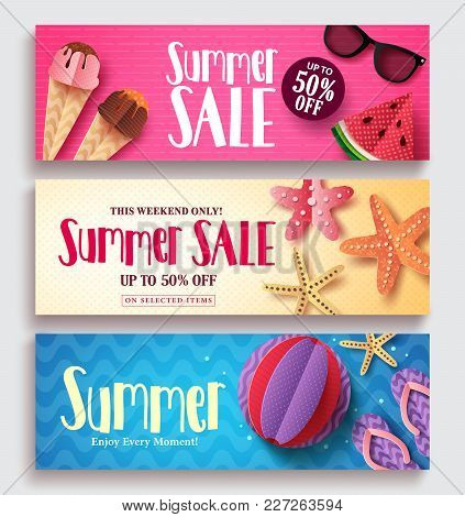 Summer Sale Vector Banner Set With Colorful Pattern Background And Paper Cut Beach Elements. Seasona