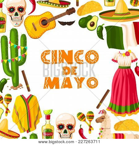 Cinco De Mayo Mexican Holiday Greeting Card For Puebla Battle Victory Celebration. Fiesta Party Somb