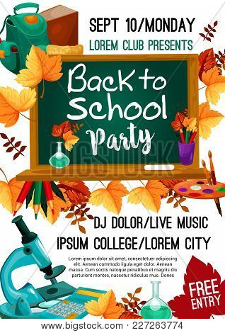 Back To School College Party Invitation Poster For September Autumn Seasonal School Event. Vector De