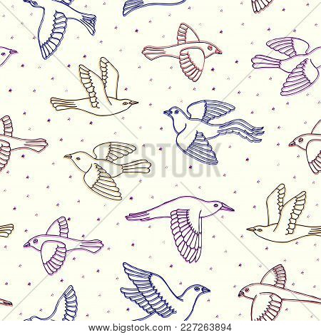 Hand Drawn Decorative Cartoon Birds Seamless Pattern. Beautiful Ink Animal Vector Illustration In An