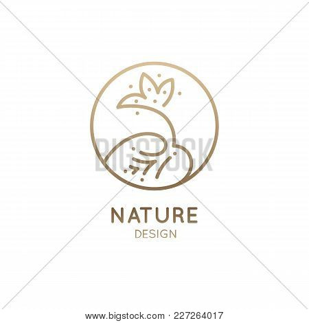 Vector Logo Of Floral Element. Abstract Lotus Flower Outline Icon. Linear Round Emblem For Design Of