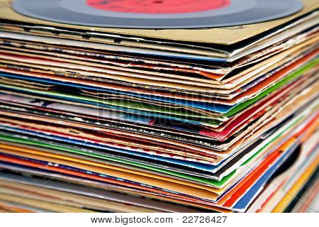 Old Vinyl Records Pile