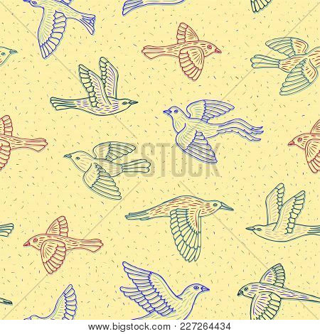 Hand Drawn Decorative Cartoon Birds Seamless Pattern. Beautiful Ink Animal Vector Illustration In Li