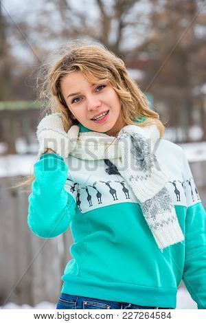 Girl With Scarf In Winter, In Green Sweater, Mittens Curly Hair