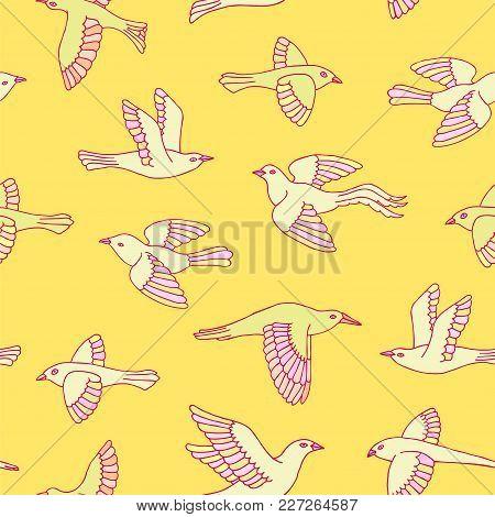 Hand Drawn Yellow And Pink Decorative Cartoon Birds Seamless Pattern. Beautiful Animal Vector Illust