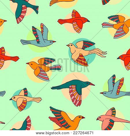 Hand Drawn Colorful Decorative Cartoon Birds And Circles Seamless Pattern. Beautiful Animal Vector I