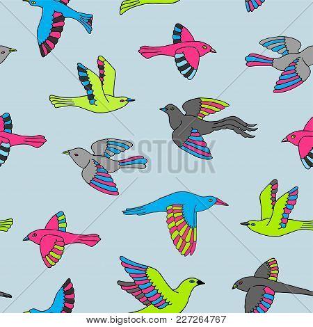 Hand Drawn Colorful Decorative Cartoon Birds Seamless Pattern. Beautiful Animal Vector Illustration