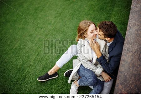 Couple In Love - Beginning Of A Love Story. A Man And A Girl Outdoor.