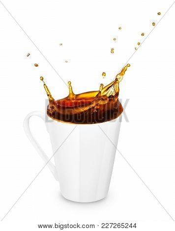 Mug Of Spilling Coffee Or Tea Isolated On White Background. Coffee Splash