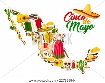 Mexican Map With Cinco De Mayo Holiday Symbols. Sombrero Hat, Flag Of Mexico And Maracas, Chili Pepp