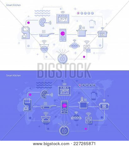 Vector Illustration Of Smart Kitchen And Smart Home Connected Icons On Violet And White Background.