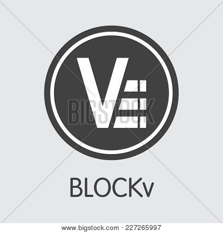 Blockv - Cryptographic Currency Illustration. Vector Coin Symbol Of Virtual Currency Icon On Grey Ba