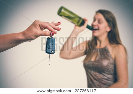 Unfocused Woman Drinking Alcohol And Her Friend Showing Car Keys - Homecoming After Party - Retro St