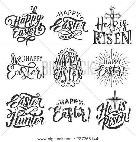 Easter Badge Set For Spring Holiday Celebration Template. Easter Rabbit Ear, Egg And Crucifix Cross