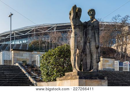 Leipzig, Germany - February 7, 2018: Socialist Realism Sculptures That Survived The Communism Era At