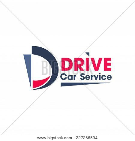 Blue And Red Colors Logo For Car Service Business. Abstract Vector Logo Design For Car Repair Or Was