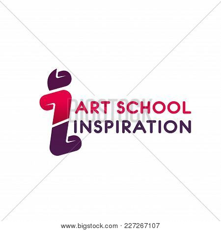 Vector Logo In Red Colors For Art School. Logo Design Concept For Studio Of Art And Inspiration. Cre