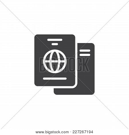 International Passport Vector Icon. Filled Flat Sign For Mobile Concept And Web Design. Travel Docum