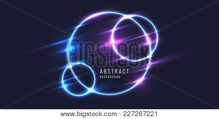 Abstract Banner With Neon Circle On A Dark Background. Vector Illustration.