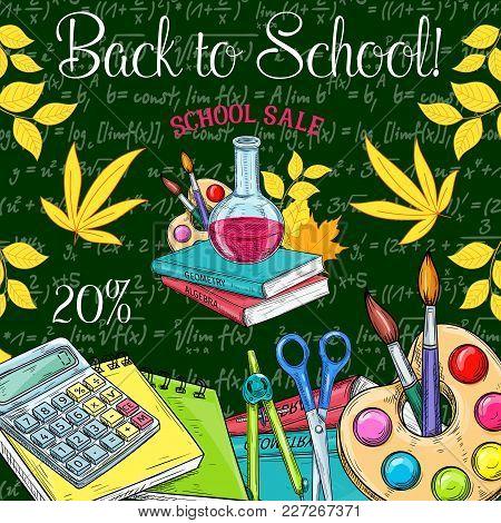 Back To School Sale Poster Of School Bag And Lesson Stationery For September Promo Offer. Vector Ske