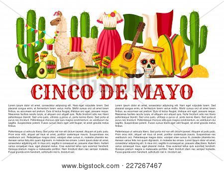 Cinco De Mayo Mexican Holiday Celebration Poster For Mexico National Holiday Party Or Fiesta. Vector