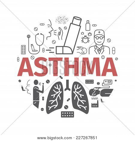 Asthma Symptoms And Symbols. Asthma Icons. Vector Set