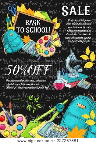 Back To School Sale Banner Or Poster Sketch Template For September Autumn Seasonal School Store Disc