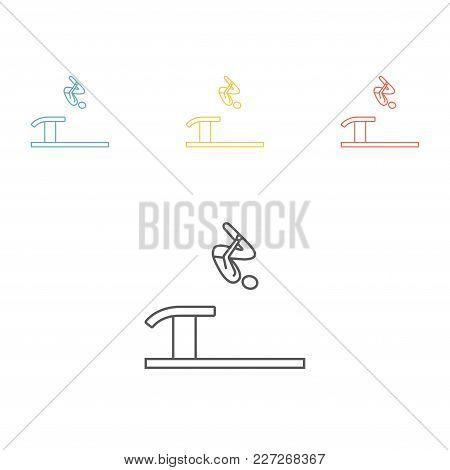 Artistic Gymnastics Vault Athletes Sportsman Games Line Icon Vector Signs For Web Graphics