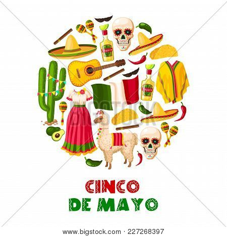 Mexican Holiday Greeting Card For Cinco De Mayo Fiesta Party. Sombrero Hat, Chili Pepper And Jalapen