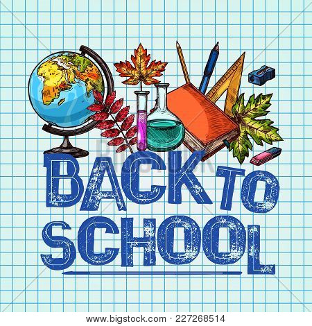 Back To School Poster Of Lesson Stationery On Ink Pen Checkered Page Background. Vector Design Of Ge