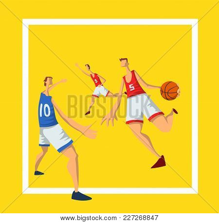 Basketball Players In Abstract Flat Style. Men Playing With A Basketball Ball. Design Template For S