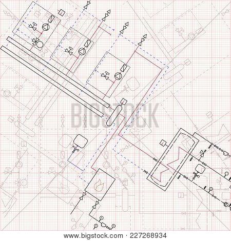 2d Technical Drawing Gas Boiler House. Vector Illustration Graph Paper Blueprint.