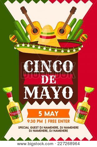Mexican Cinco De Mayo Holiday Fiesta Party Banner Template. Sombrero Hat, Maracas And Tequila Bottle