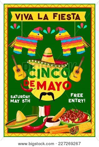 Cinco De Mayo Party Fiesta Invitation Flyer For Mexican National Holiday Celebration. Vector Design