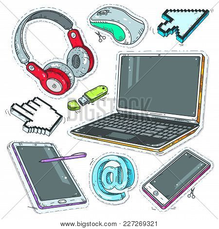 Vector Set Of Comic Style Icons, Colourful Sticker Computer, Internet Pointers, Headphones And Lapto