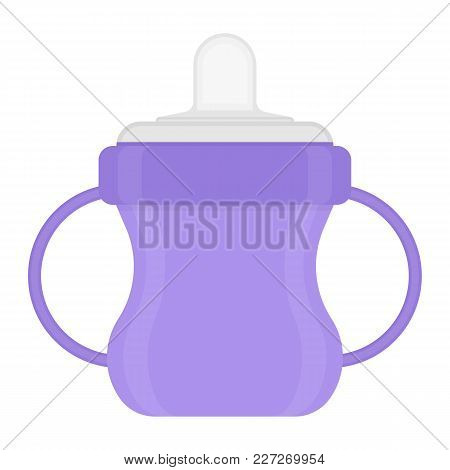Baby Sippy Cup Isolated On White Background. Vector Illustration Of Toddler Feeding Equipment. Baby