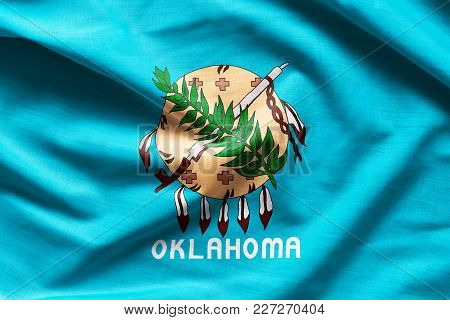 Fabric Texture Of The Oklahoma Flag Background - Flags From The Usa