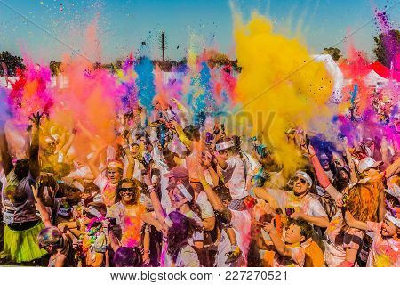 Johanneburg, South Africa,  05/21/2017, Young People Having Fun At The Color Run 5km Marathon, Brigh