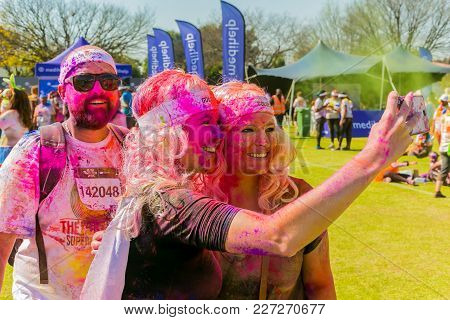 Johanneburg, South Africa,  05/21/2017, Young People Taking A Selfie At The Color Run 5km Marathon,