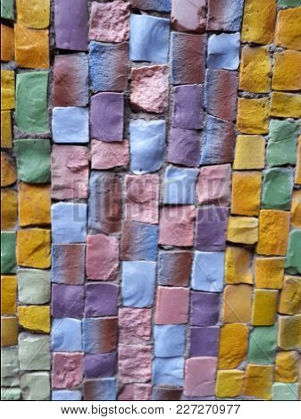 Close Up Of Colorful Mosaic Square Stones On The Wall Background, Texture.
