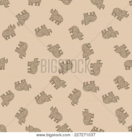 Rhinoceros. Safari Animal Tangle Pattern. Coloring Book Seamless Pattern Background.